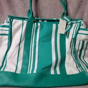 A New Day Green & White Striped Canvas Weekender B